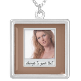 instant photo - photoframe - on brown square pendant necklace