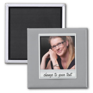 instant photo - photoframe - on grey 2 inch square magnet