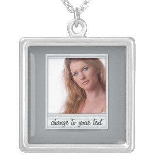 instant photo - photoframe - on grey square pendant necklace