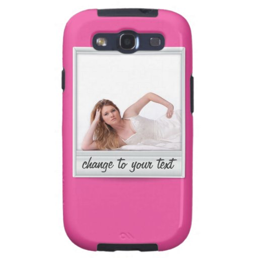 instant photo - photoframe - on hot pink galaxy SIII case