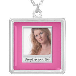 instant photo - photoframe - on hot pink square pendant necklace