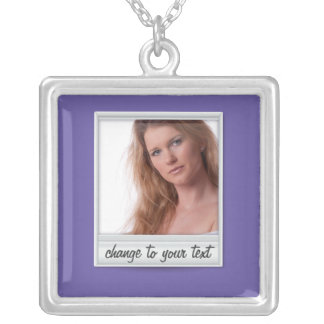 instant photo - photoframe - on purple square pendant necklace