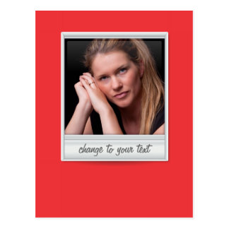 instant photo - photoframe - on red postcard