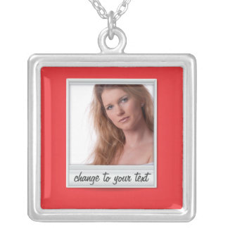 instant photo - photoframe - on red square pendant necklace
