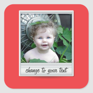 instant photo - photoframe - on red square sticker