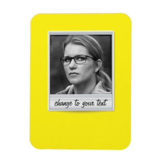 Instant photo - photoframe - on yellow magnet