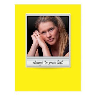 Instant photo - photoframe - on yellow postcard