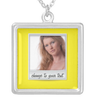 Instant photo - photoframe - on yellow square pendant necklace