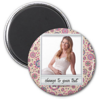 Instant photo - photoframe with pattern 2 inch round magnet