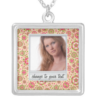 Instant photo - photoframe with pattern square pendant necklace