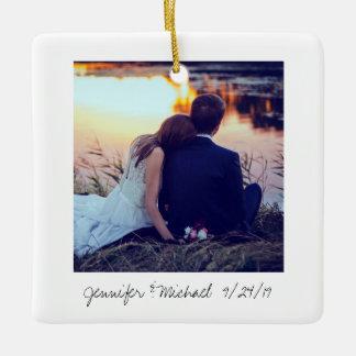 Instant Photo Style Wedding Photo Ceramic Ornament