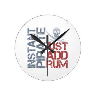 Instant Pirate Just Add Rum Round Wallclocks