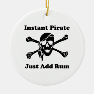 Instant Pirate Just Add Rum Double-Sided Ceramic Round Christmas Ornament