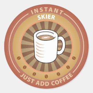 Instant Skier Round Sticker