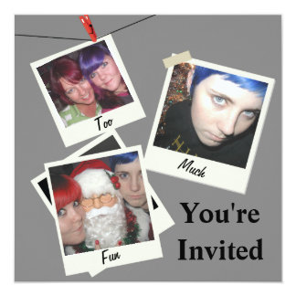 "Instant Snapshot Add Your Photo 5.25"" Square Invitation Card"