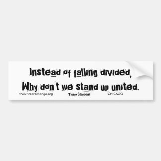 Instead of falling divided,Why don't we stand u... Bumper Sticker