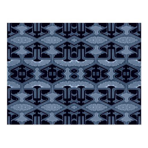 Instinto del art déco - sombras del azul tarjeta postal