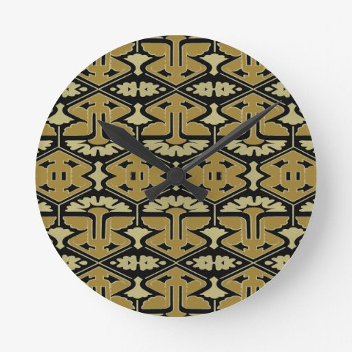 Instinto del art déco - variación en negro reloj de pared