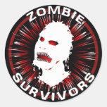 Instinto del icono de los supervivientes del zombi pegatinas redondas