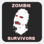 Instinto del icono de los supervivientes del zombi colcomanias cuadradas