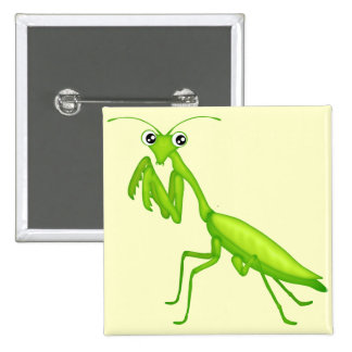 Instinto verde de la mantis religiosa del dibujo a pin cuadrado