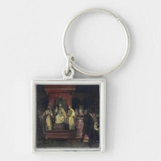 Institución de la orden del Templars Llavero Cuadrado Plateado