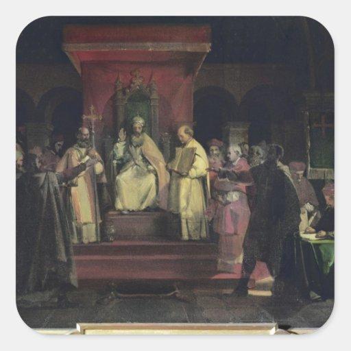 Institución de la orden del Templars Pegatina Cuadrada