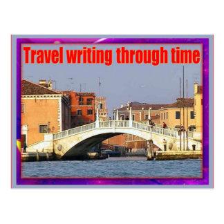 Instrucción, escritura del viaje, con tiempo tarjetas postales