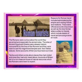 Instrucción, escritura del viaje, turistas romanos tarjeta postal