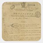 Instrucciones a los soldados publicados por calcomania cuadrada personalizada