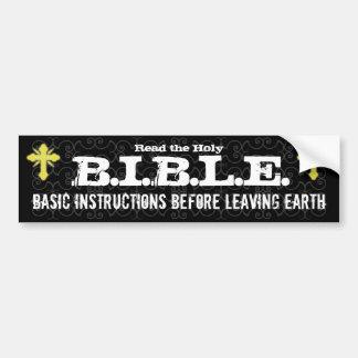 Instrucciones básicas antes de dejar al cristiano  etiqueta de parachoque