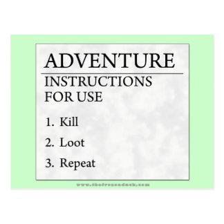 Instrucciones de la aventura tarjetas postales