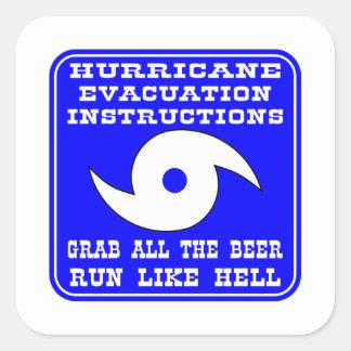 Instrucciones en caso del huracán pegatina cuadrada