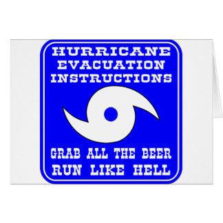 Instrucciones en caso del huracán tarjeta de felicitación
