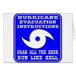 Instrucciones en caso del huracán tarjetas
