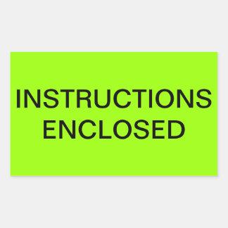 Instruction Enclosed Shipping Label Rectangular Sticker