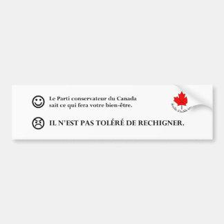 Instructions de la part du Parti Conservateur Bumper Sticker