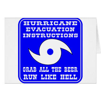 Instructions In Case Of Hurricane Card
