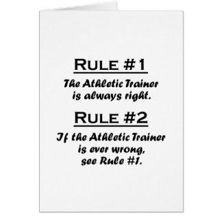Instructor atlético de la regla tarjeta pequeña