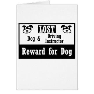 Instructor de conducción perdido del perro tarjeta pequeña