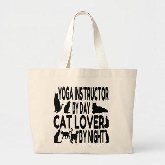 Instructor de la yoga del amante del gato bolsa tela grande