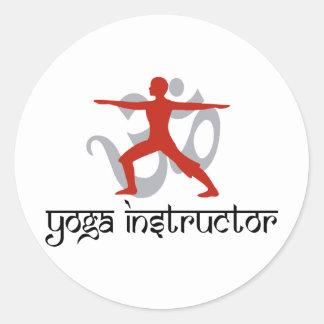 Instructor de la yoga pegatina redonda