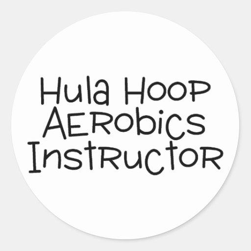 Instructor de los aeróbicos del aro de Hula Etiquetas Redondas