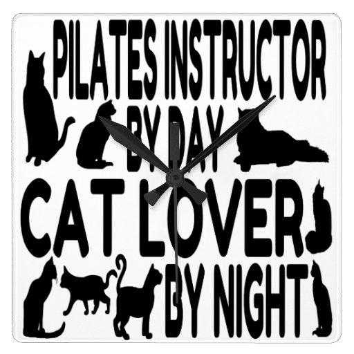 Instructor de Pilates del amante del gato Reloj Cuadrado