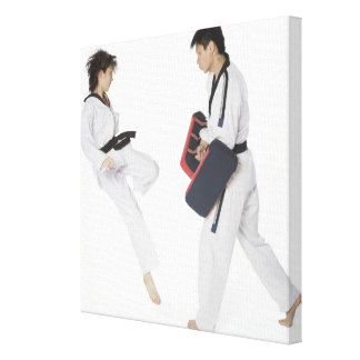 Instructor de sexo femenino del karate que enseña  impresión en lona estirada