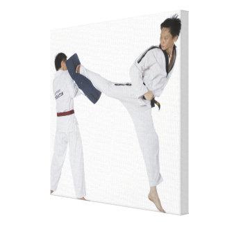 Instructor de sexo masculino del karate que enseña impresiones en lienzo estiradas