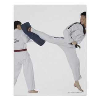 Instructor de sexo masculino del karate que enseña póster