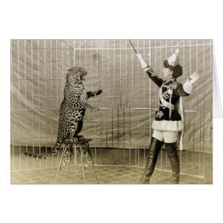 Instructor del circo del vintage tarjeta de felicitación