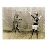 Instructor del circo del vintage tarjetas postales