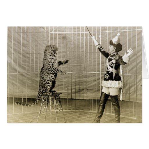 Instructor del circo del vintage tarjeton